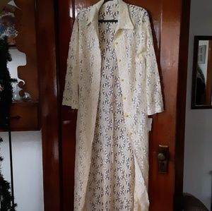 Vintage Long Ivory Cream Boho Floral Lace Duster